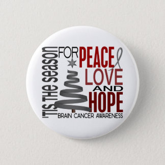 Peace Love Hope Christmas Holiday Brain Cancer 6 Cm Round Badge