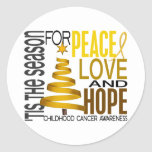 Peace Love Hope Christmas Holiday Childhood Cancer Round Sticker