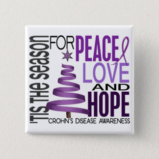 Peace Love Hope Christmas Holiday Crohn's Disease 15 Cm Square Badge