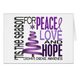 Peace Love Hope Christmas Holiday Crohn's Disease Greeting Cards