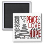 Peace Love Hope Christmas Holiday Diabetes Square Magnet