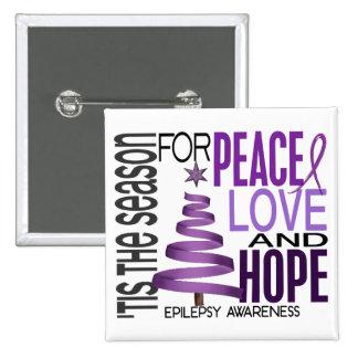 Peace Love Hope Christmas Holiday Epilepsy Button