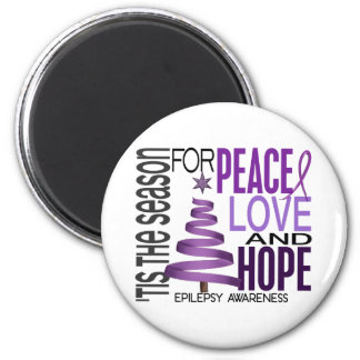 Peace Love Hope Christmas Holiday Epilepsy 6 Cm Round Magnet