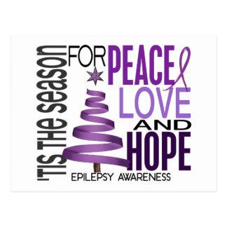 Peace Love Hope Christmas Holiday Epilepsy Postcard