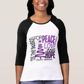 Peace Love Hope Christmas Holiday Epilepsy T-Shirt