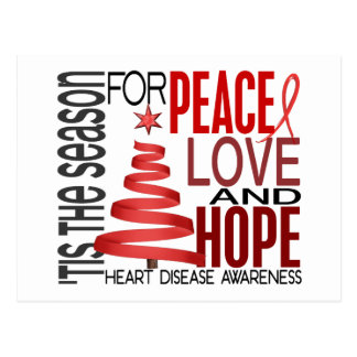 Peace Love Hope Christmas Holiday Heart Disease Postcards