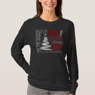 Peace Love Hope Christmas Holiday Mesothelioma T-Shirt