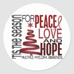 Peace Love Hope Christmas Holiday Multiple Myeloma Round Sticker