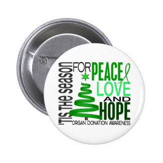 Peace Love Hope Christmas Holiday Organ Donation 6 Cm Round Badge