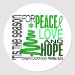 Peace Love Hope Christmas Holiday Organ Donation Round Stickers