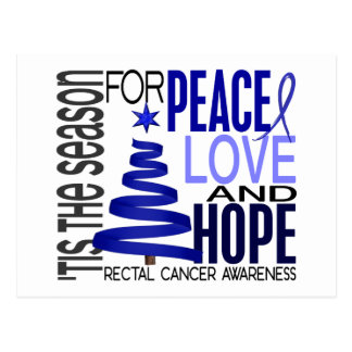 Peace Love Hope Christmas Holiday Rectal Cancer Postcard
