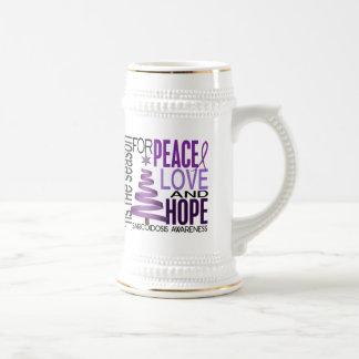 Peace Love Hope Christmas Holiday Sarcoidosis Coffee Mugs