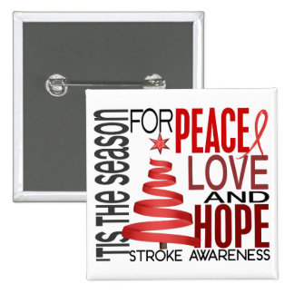 Peace Love Hope Christmas Holiday Stroke 15 Cm Square Badge