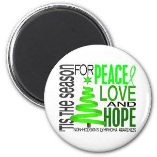 Peace Love Hope Christmas Non-Hodgkin's Lymphoma 6 Cm Round Magnet