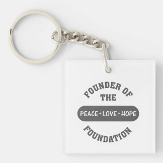 Peace, Love, Hope start with me as the foundation Single-Sided Square Acrylic Key Ring