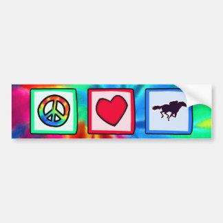 Peace Love Horse Racing Bumper Stickers