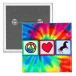 Peace, Love, Horses 15 Cm Square Badge