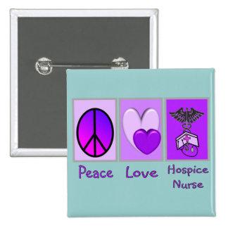 Peace Love Hospice Nurse (PURPLE) 15 Cm Square Badge
