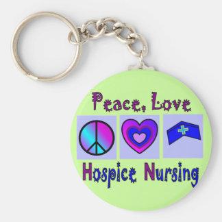 Peace, Love, Hospice Nursing Basic Round Button Key Ring