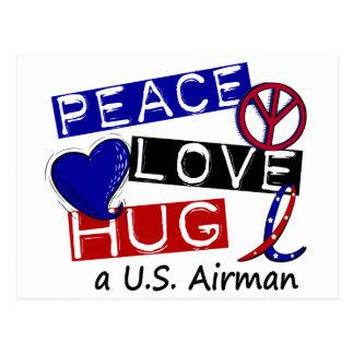 PEACE LOVE HUG A U.S. Airman T-Shirts Postcard