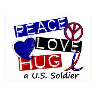 PEACE LOVE HUG A U.S. Soldier Apparel Postcard