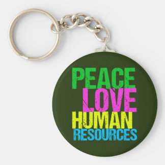 Peace Love Human Resources Basic Round Button Key Ring