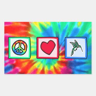 Peace, Love, Hummingbirds Rectangular Sticker