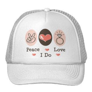 Peace Love I Do Bridal Cap