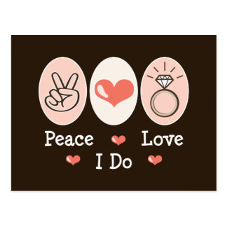 Peace Love I Do Wedding Postcard