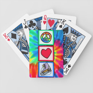 Peace, Love, Ice Skate Bicycle Playing Cards