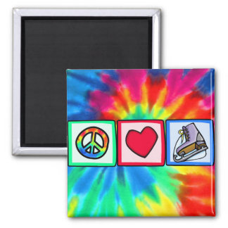 Peace, Love, Ice Skate Square Magnet