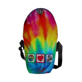 Peace, Love, Ice Skate Messenger Bag
