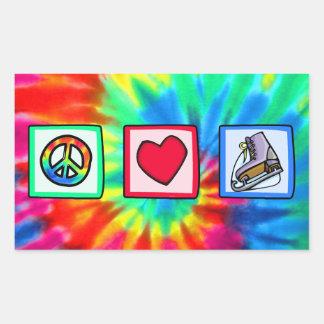 Peace, Love, Ice Skate Rectangular Sticker