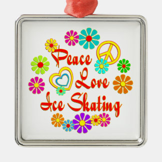 PEACE LOVE Ice Skating Christmas Ornament