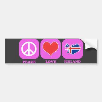 Peace Love Iceland Bumper Sticker