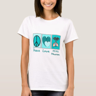 Peace Love ICU Nurse T-Shirt
