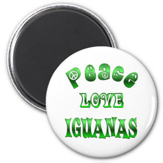 PEACE LOVE IGUANAS 6 CM ROUND MAGNET