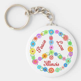 Peace Love Illinois Basic Round Button Key Ring