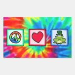 Peace, Love, Irish Frog Rectangular Sticker