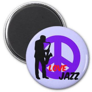 Peace love jazz 6 cm round magnet