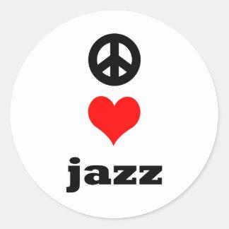 peace Love Jazz Round Stickers