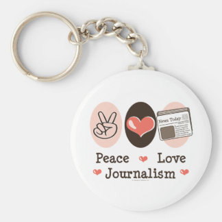 Peace Love Journalism Key Chain