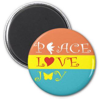 Peace Love Joy 6 Cm Round Magnet