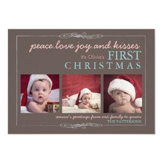 Peace Love Joy Baby's First Christmas Photo Card 13 Cm X 18 Cm Invitation Card