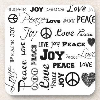 Peace Love Joy - Black and White Coaster