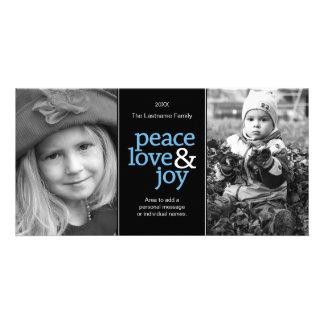 Peace Love & Joy - Black Blue 2 Photos Card