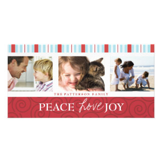 Peace Love Joy Blue & Red Holiday Photo Collage Card