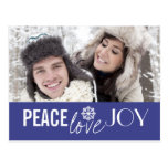 Peace Love Joy Blue Snowflake Holiday Postcards