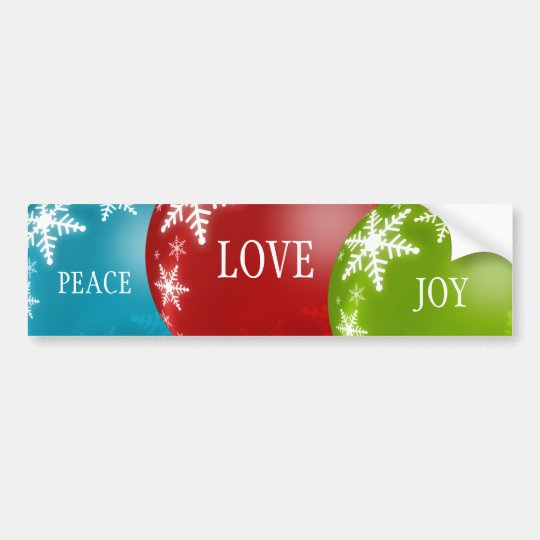 Peace, Love, Joy bumper sticker