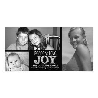 Peace Love Joy Chalkboard - 3 photos Card